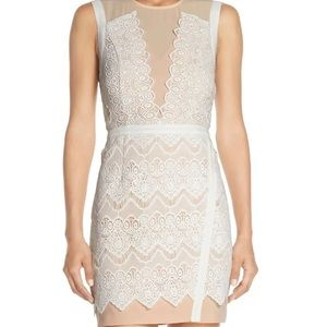 Greylin M Illusion Lace Sheath Mini Dress Pink